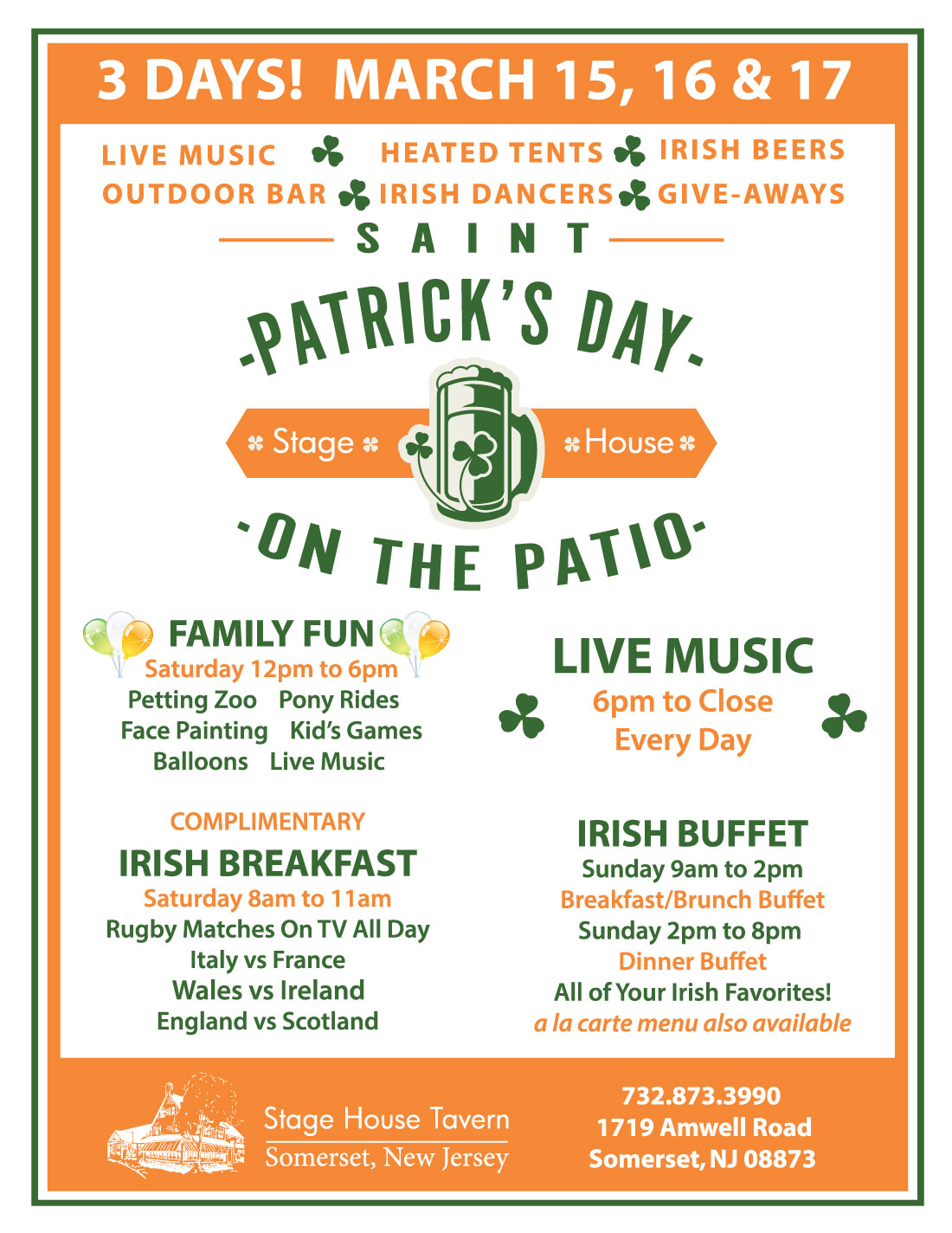 3 day St. Patrick's Celebration at the Stage House Tavern in SOmerset, NJ