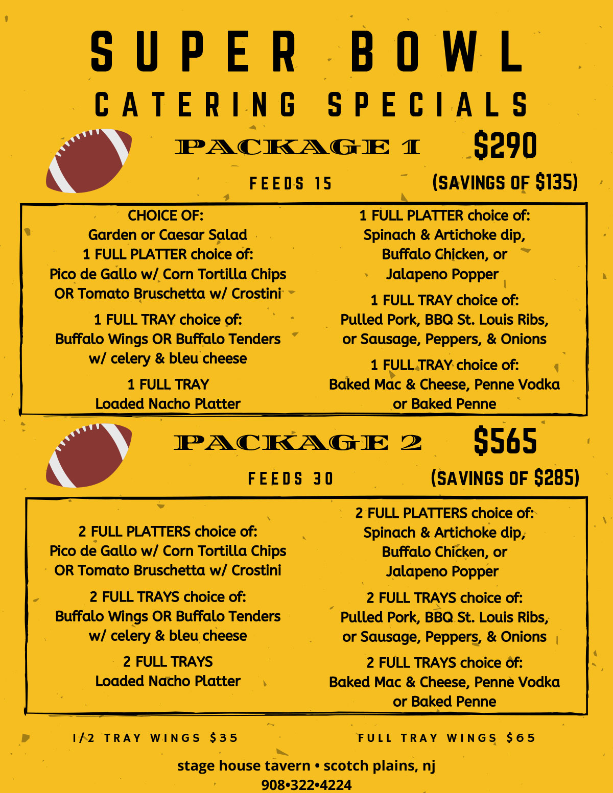Super Bowl Catering Specials - Stage House Tavern Scotch Plains